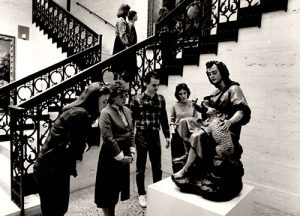 Black and white photo of visitors to Meadows Museum