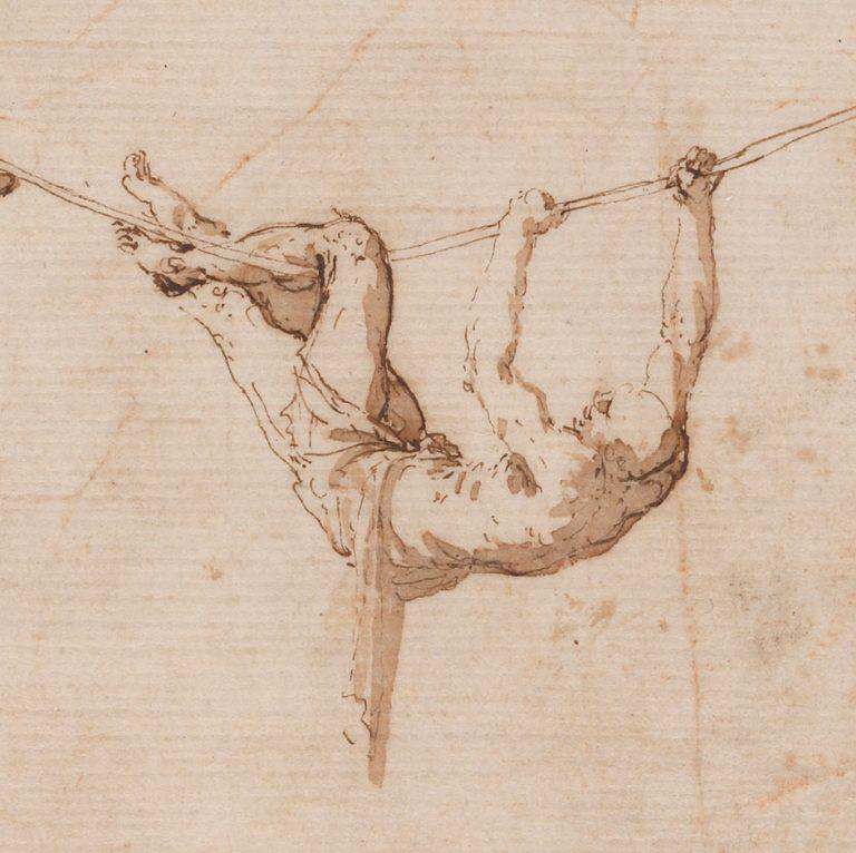 Jusepe de Ribera (Spanish, 1591-1652), Acrobats on a Loose Wire, late 1630s. Pen and brown ink and brown wash on beige paper. Museo de la Real Academia de Bellas de Artes, San Fernando, Madrid