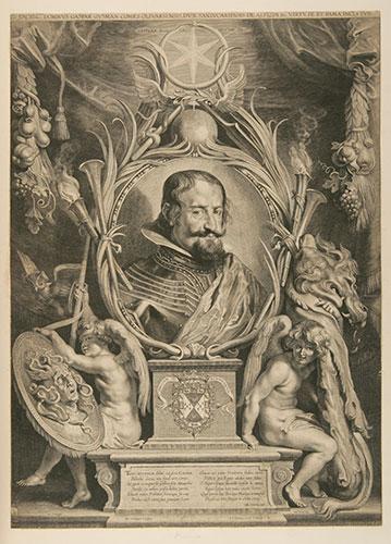Paulus Pontius (Flemish, 1603-58), Allegorical Portrait of the Count-Duke of Olivares, c. 1625. Engraving. Museo Nacional del Prado, Madrid.
