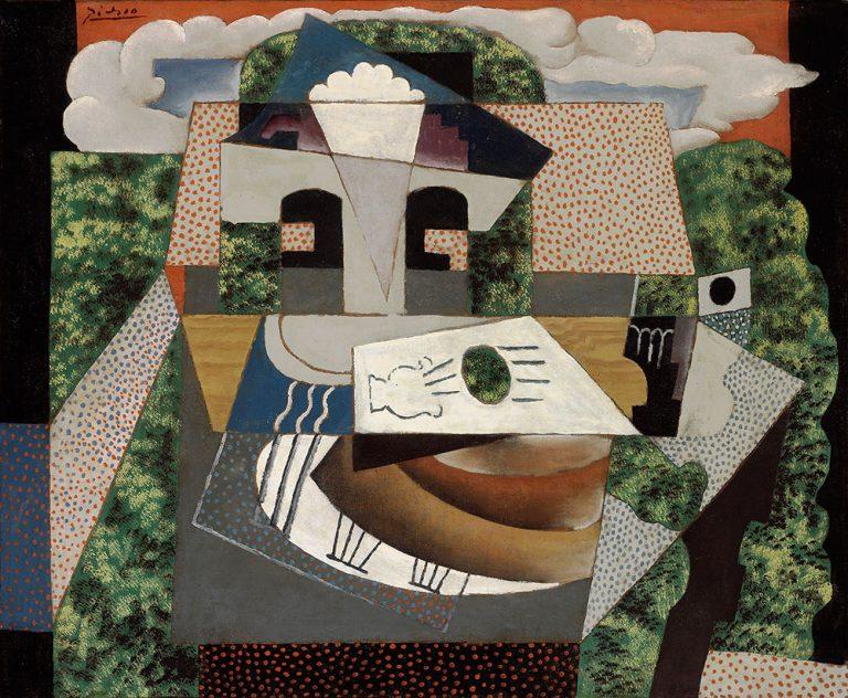 Pablo Picasso, Still Life in a Landscape, 1915 . Oil on canvas. Algur H. Meadows Collection