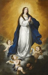 "Bartolomé Esteban Murillo (Spanish, 1617–1682), ""The Immaculate Conception,"" 1655–60. Oil on canvas. Meadows Museum, SMU, Dallas. Algur H. Meadows Collection, MM.68.24. Photo by Michael Bodycomb"