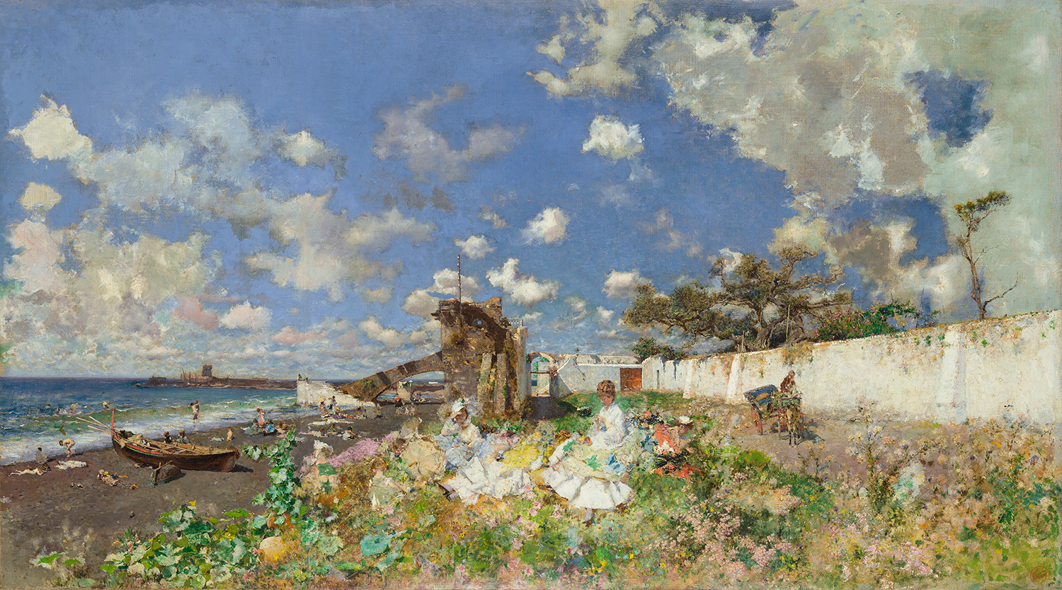Mariano Fortuny y Marsal (Spanish, 1838–1874), Beach at Portici, 1874. Oil on canvas, 27 x 51 ¼ in. (68.6 x 130.2 cm). Meadows Museum, SMU, Dallas.